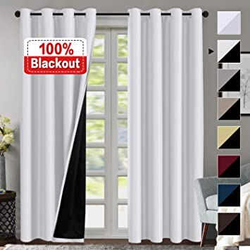 Amazon Com Double Layer 100 Blackout Curtains For Bedroom 84 Inches Long Thermal Insulated Lined Curtains For Living Room Full Light Blocking Energy Saving Grommet Drapes Draperies 2 Panels White Home Kitchen