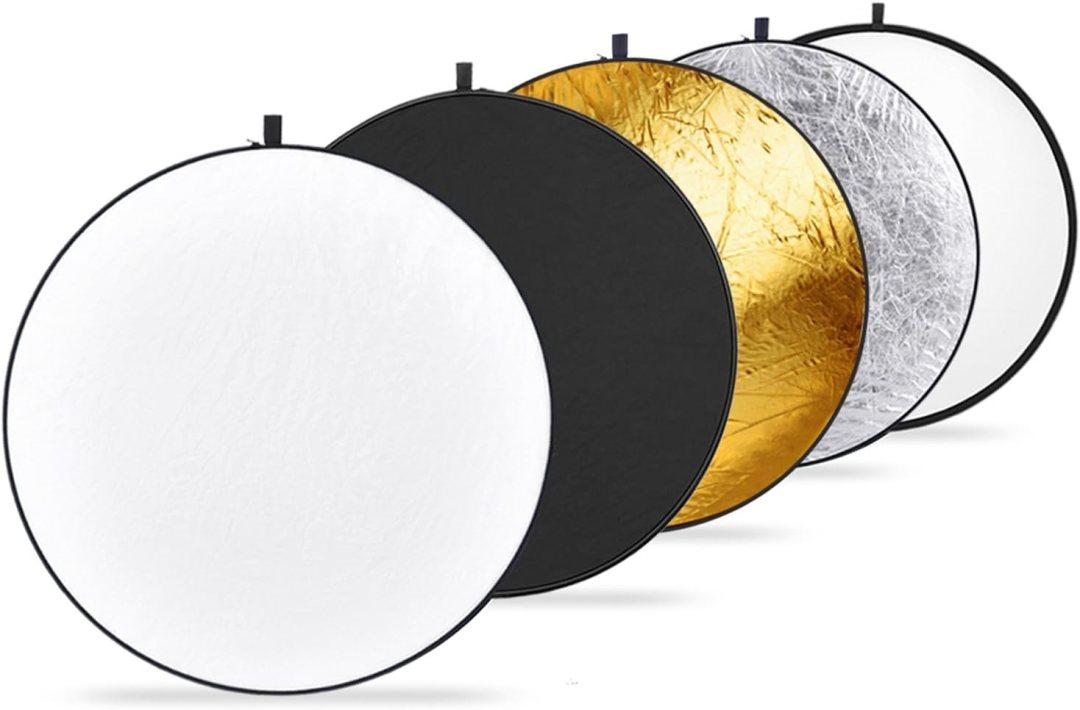 Neewer 5 en 1 Réflecteur 32 pouces 80cm portable Translucide, Argent, Or, Blanc et Noir Pliable Réflecteur de Lumière Multi-Disque pour Photo Studio