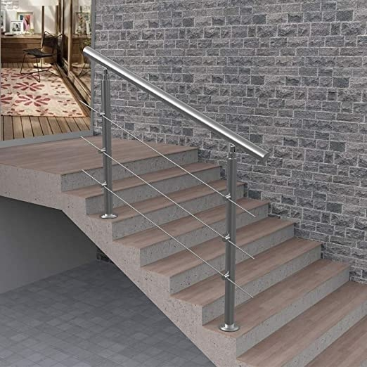 Amazon Com 3 Step Or 4 Step Handrail For Indoor And Outdoor Steps | Stainless Steel Outdoor Stair Railings | Horizontal | Balcony 4X10 | Metal | Black | Hand