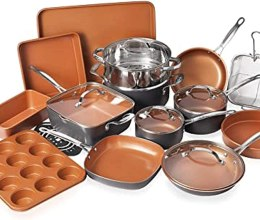 Gotham Steel Cookware + Bakeware Set with Nonstick Durable Ceramic Copper Coating – Includes Skillets, Stock Pots, Deep Square Fry Basket