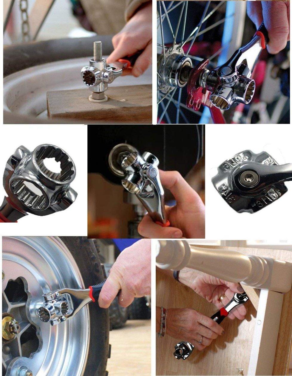 Hojo 48 in 1 Socket Wrench  Multi function  Universal Tool with Spline Bolts 360 Degree Revolving Spanner