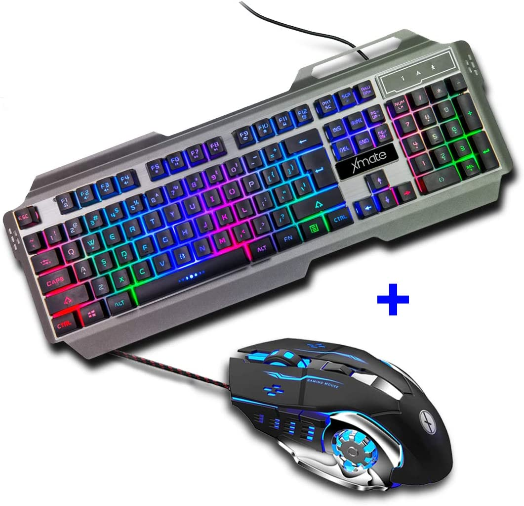 Xmate Zorro Gaming Mouse & Gaming Keyboard Combo, 3200 DPI Wired Mouse, 6 Buttons, Multi-Color Backlit Keyboard for Computer and Laptop (Black)
