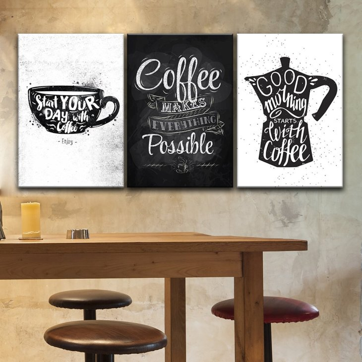 Coffee Decor for Coffee Lovers | 3 Piece Black & White Canvas Coffee Art Set