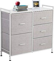 KINGSO Fabric 5 Drawer Dresser Storage
