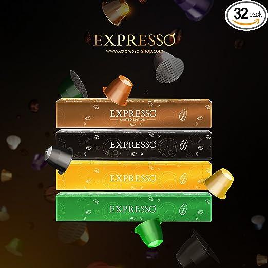 Nespresso Compatible Capsules - EXPRESSO Compatible Capsules - EXPRESSO coffee capsules Variety Pack Good Morning Set (32 Pods - 0.55/count) - Fit to All Nespresso Original Line Machine