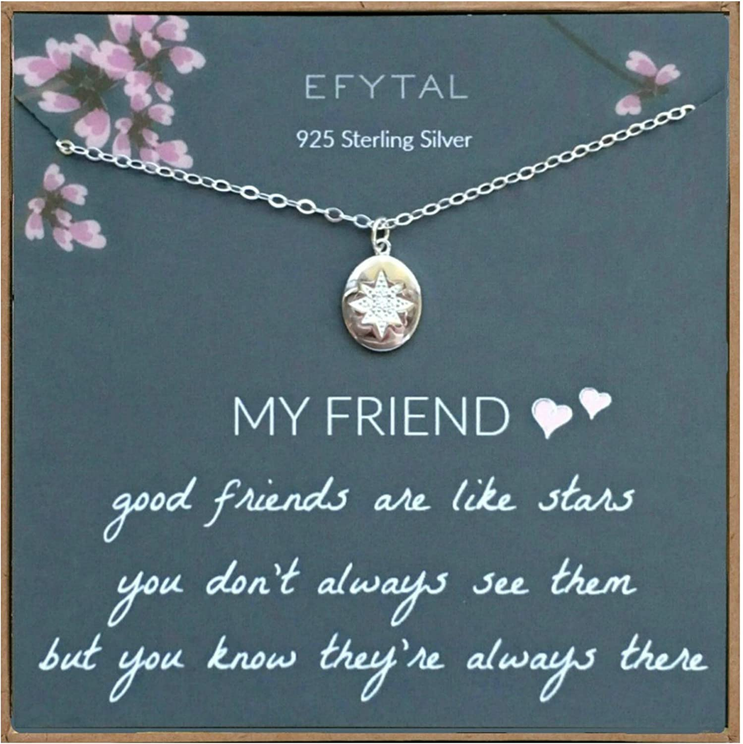 Amazon Com Efytal Best Friend Gifts 925 Sterling Silver Star Friendship Necklace Birthday Jewelry Gift Necklaces For Bff Bridesmaid Gift Clothing