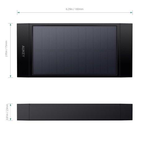 Abmessungen - Aukey PB-P23 16.000mAh Solar Powerbank