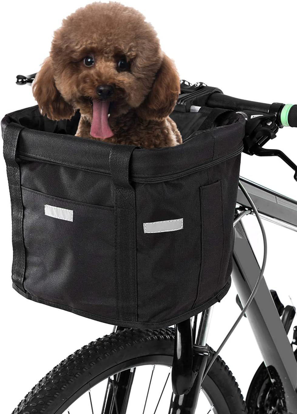 Lixada Cesta Delantera de Bicicleta Lona Desmontable Impermeable Cesta de Manillar de Bicicleta Bolsa para Mascota