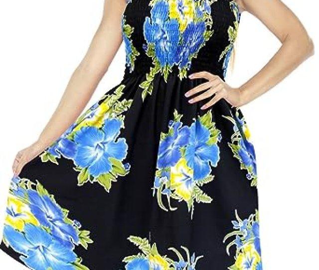 Dress Halter Neck Cover Up Maxi Sundress Beachwear Womens Skirt Aloha Tube Midi Swim Blue La Leela Amazon Co Uk Clothing