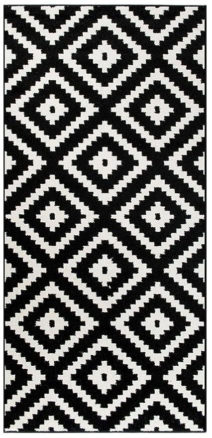 2Ft4 X 1Ft8 Tapiso Star Hall Stair Runner Mat Rug Diamond Black | Black And White Stair Carpet | Interior Design | Light Grey | Unusual | Design | Beautiful
