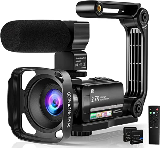"Video Camera Camcorder Digital Youtube Vlogging Camera, 2.7K Full HD 36MP/30FPS, IR Night Vision, 3.0"" IPS Touch Screen, 16X Digital Zoom, Video Camcorder with Microphone, Remote Control, 2 Batteries"