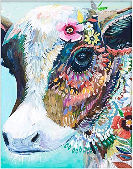 Amazon Com Diy Oil Painting Paint By Number Kits Diy Canvas Painting By Numbers Acrylic Oil Painting For Adults Kids Arts Craft For Home Wall Decor Colourful Cow Colourful Cow