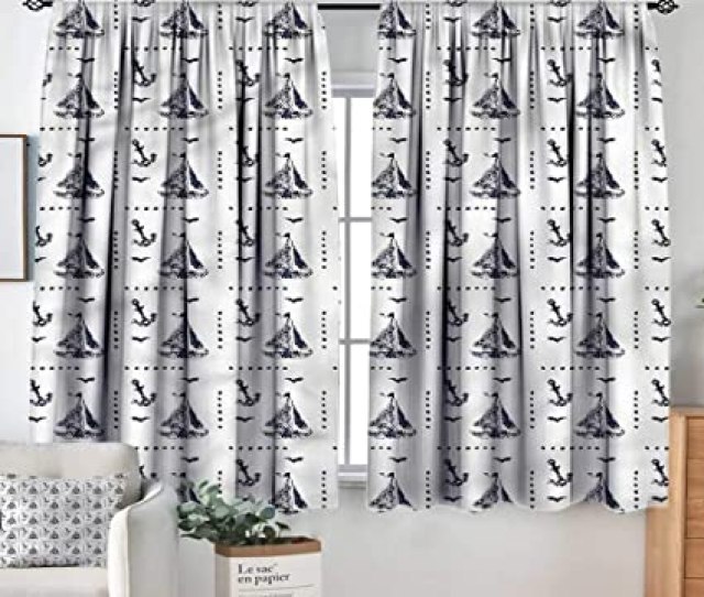 Amazon Com Nauticalcurtains And Drapes Anchor Seagull Silhouette
