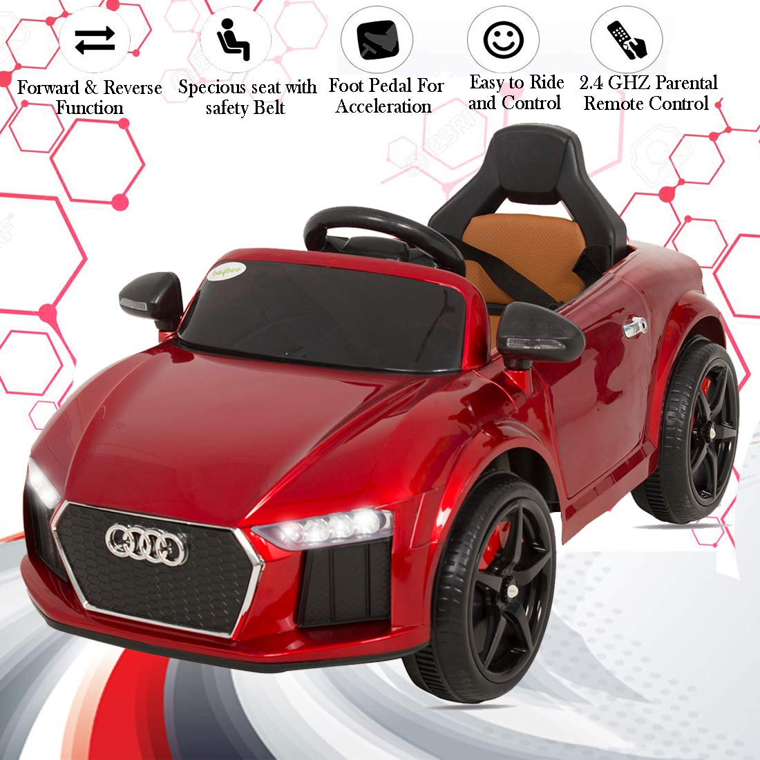 Baybee Audie Battery Operated Ride On Car for Kids with Music, Headlights with 25Kg Weight Capacity Kids Car/ Children Car / Kids Cars to Drive / Baby Car / Electric Car for Kids ( Red )