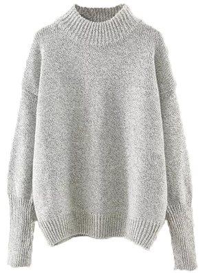 Milumia Women's Crew Neck Ribbed Trim Drop Shoulder Knit Basic Sweater One Size Grey