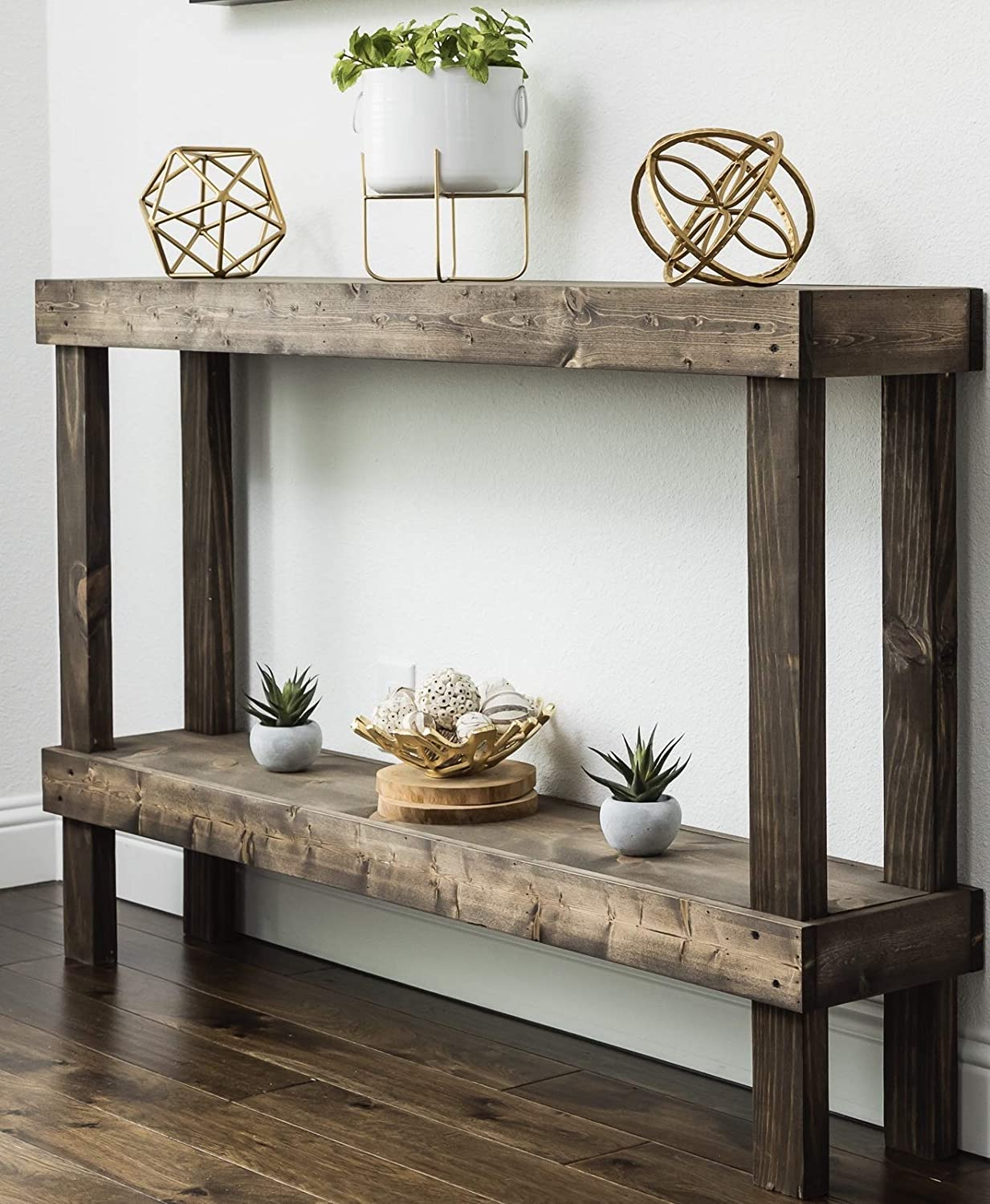 Amazon Com Rustic Luxe Large Wooden Sofa Table By Del Hutson Designs Dark Walnut Kitchen Dining