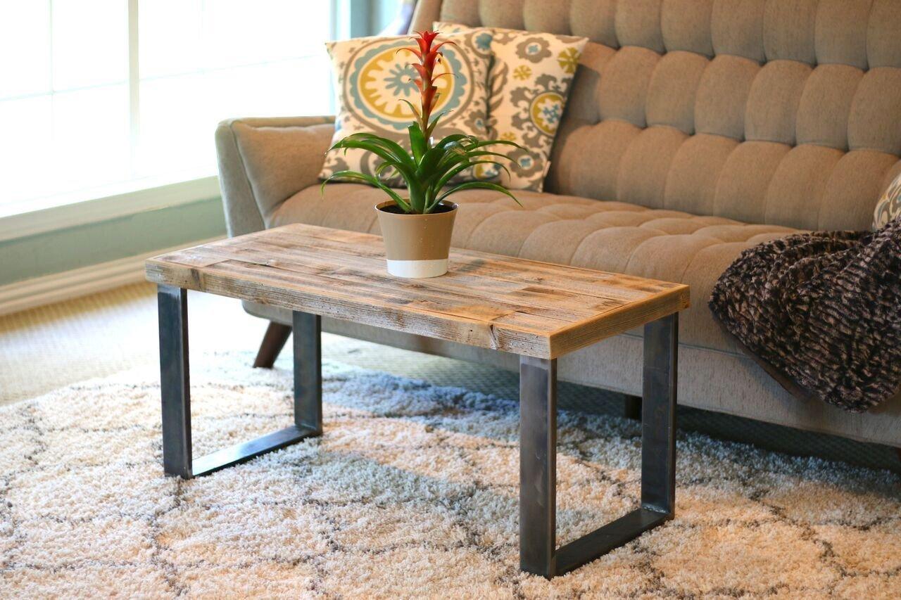 Amazon Com Industrial Natural Square Leg Coffee Table Handmade