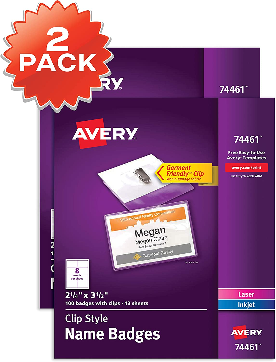 Amazon Com Avery Clip Name Badges Print Or Write 200 Inserts