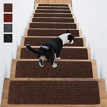Stair Treads Non Slip Carpet Indoor Set Of 14 Brown Carpet Stair | Rug Stair Treads Non Slip | Bullnose Carpet | Gloria Rug | Slip Resistant | Tread Covers | Flooring