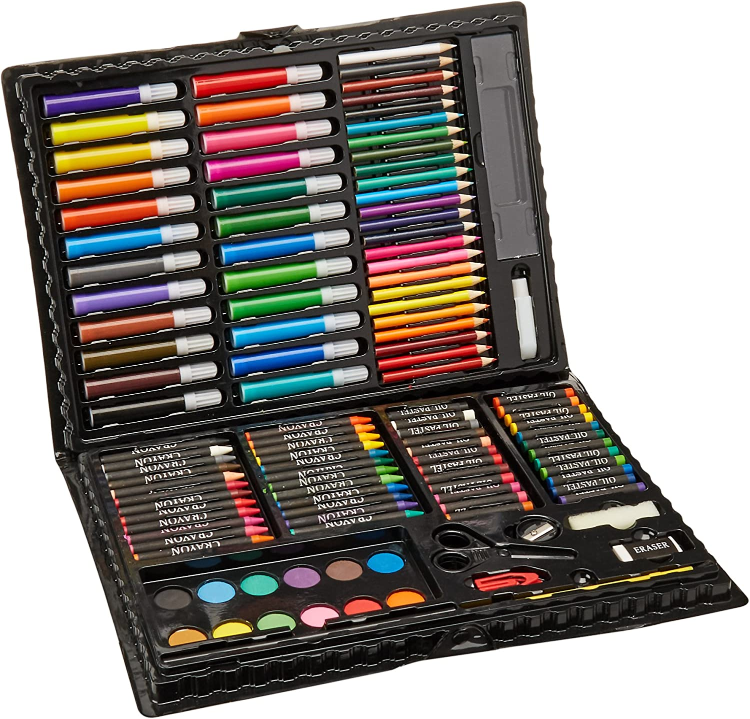 Amazon Com Darice 120 Piece Deluxe Art Set Art Supplies For Drawing Painting And More In A Plastic Case Makes A Great Gift For Children And Adults