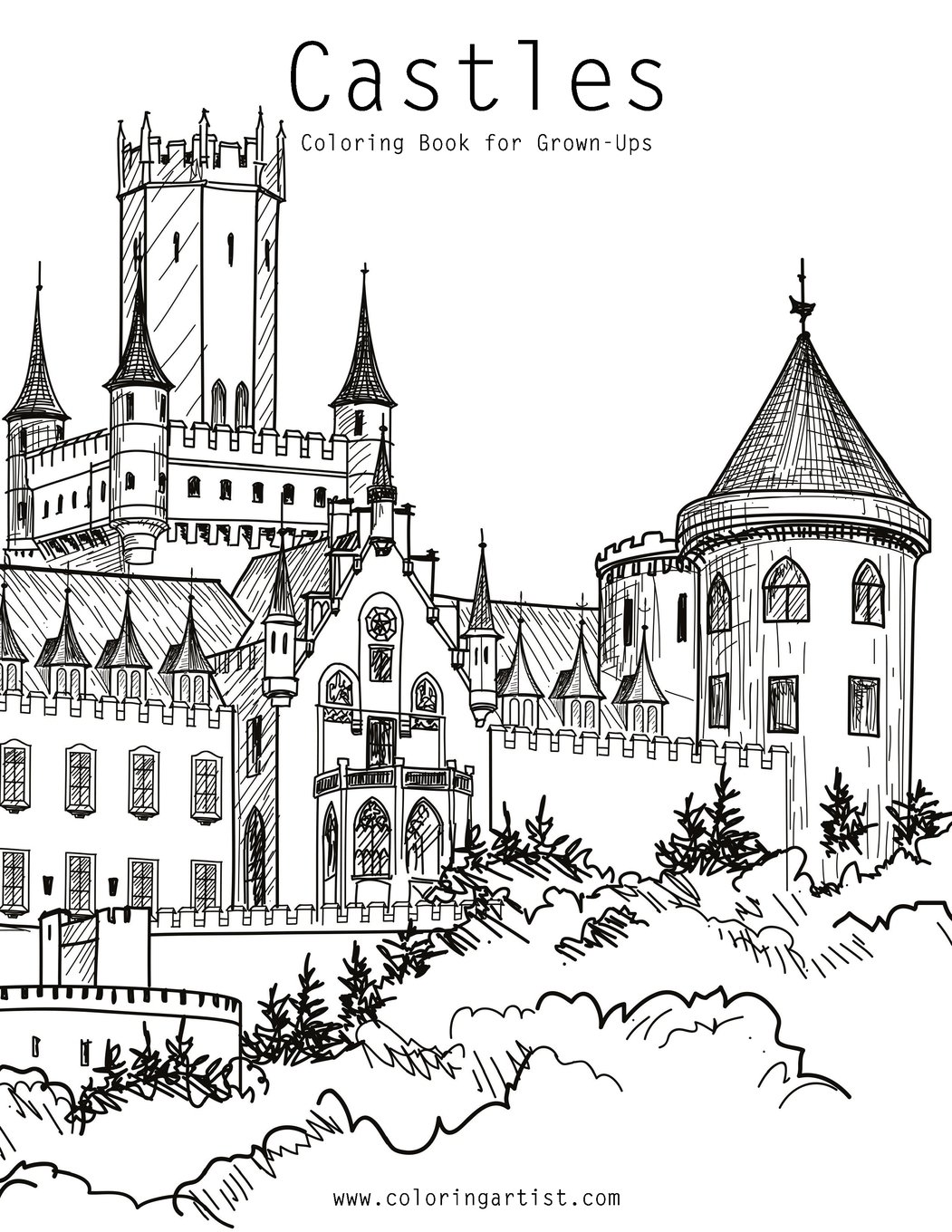 Amazon Com Castles Coloring Book For Grown Ups 1 Volume 1 9781543099300 Snels Nick Books