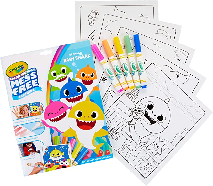 Amazon Com Crayola Baby Shark Wonder Pages Mess Free Coloring Gift Stocking Stuffers For Toddlers Toys Games
