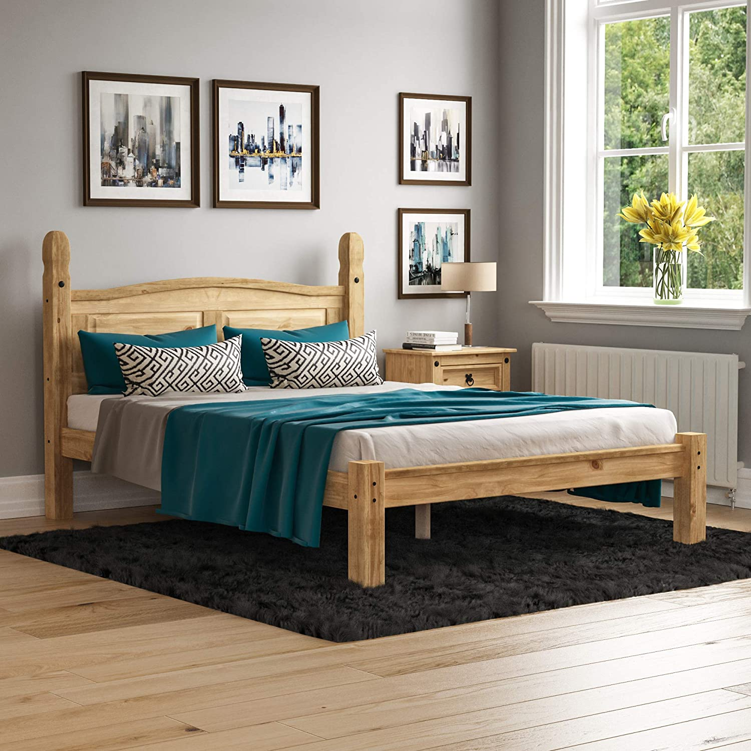 Vida Designs Corona Double Bed 4 Ft 6 Low Foot End Bed Frame Solid Pine Wood Amazon Co Uk Kitchen Home