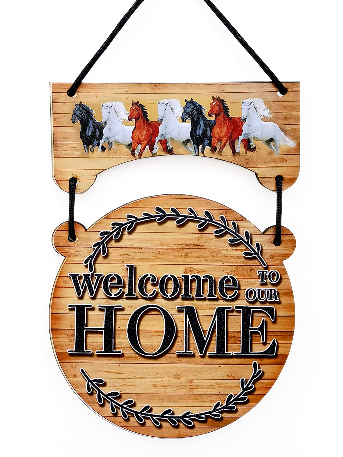 F Studio Welcome Home Printed Wooden Wall Hanging 9 x 15 Inches - Welcome Sign Board for Home, Designer Wooden Door Sign Board