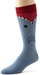 K. Bell Socks Men's Wide Mouth Shark, Blue, 10-13/Shoe Size 6-12
