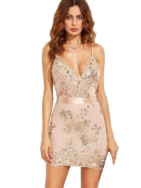 MakeMeChic Women's Sexy V Neck Sleeveless Sequin Party Club Bodycon Dress Apricot XS
