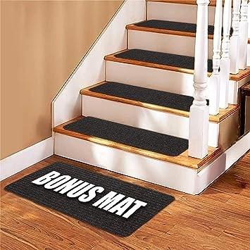Stair Treads Carpet 14 Non Slip Carpet Stair Treads Double | 30 Inch Carpet Stair Treads | Sided Tape | Bullnose Wraparound | Machine Washable | Greek Key | Non Skid