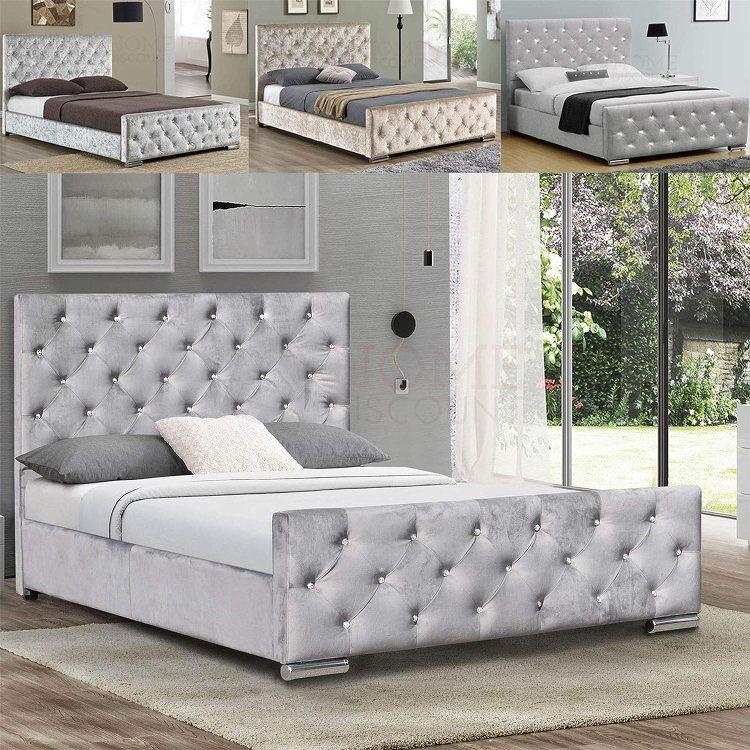 Home Discount Vida Designs Arabella King Size Bed 5 Ft Bed Frame Upholstered Fabric Headboard Bedroom Furniture Crushed Velvet Silver Amazon Co Uk Kitchen Home