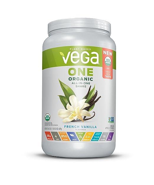 Vega One Organic All-in-One Shake French Vanilla (18 Servings, 1.5 lb) - Plant Based Vegan Protein Powder, Non Dairy, Gluten Free, Non GMO,24.3 Oz