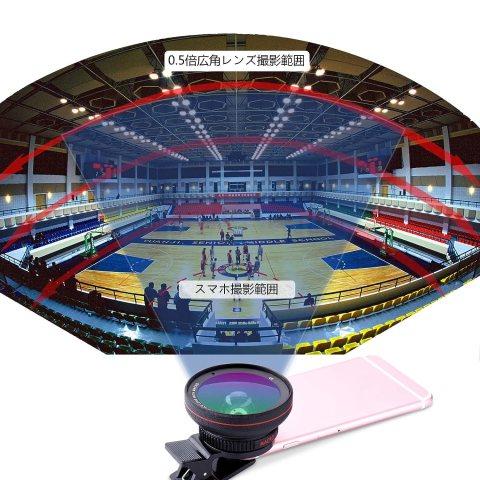 Tensun スマホ用カメラレンズ 超広角レンズ(0.5Xワイドレンズ) 15Xマクロレンズ 2in1 クリップ式レンズ 5.8cm大口径レンズ 自撮りレンズ カメラレンズキット iphone7plus 全機種対応 動画可能