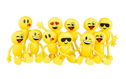 "Emoji Party Favors - Fun Toys - 1 Dozen 4.5"" Emoji Smiley Face Emoticon Bendable Figures - (12 Pack) by Neliblu"