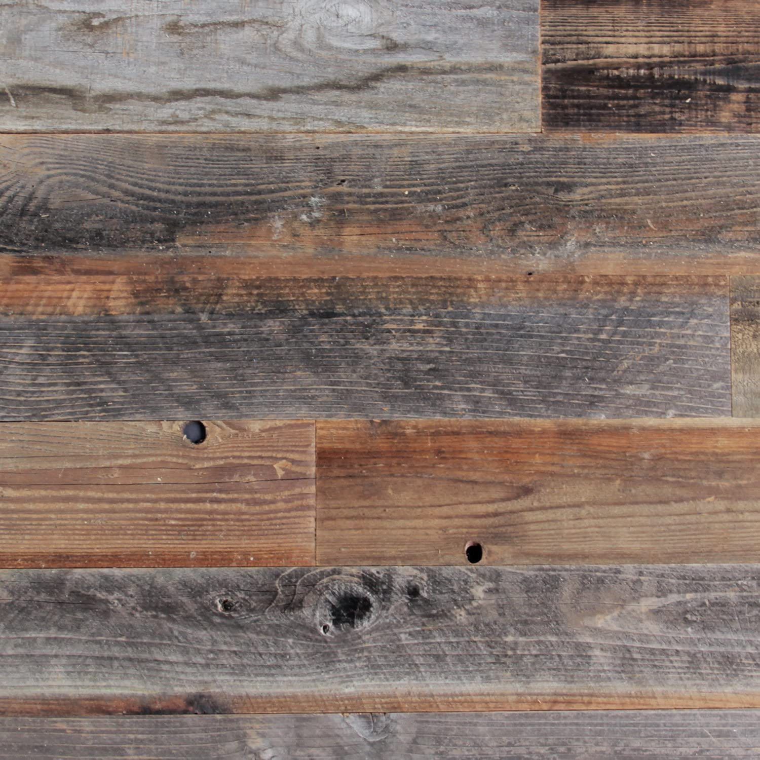 Amazon Com Plank And Mill Reclaimed Barn Wood Wall Panels Simple Peel Stick Natural Aged Planks 1 Sq Ft Sample Pack Of 5 3 Wide Whitewashed Classic Barn