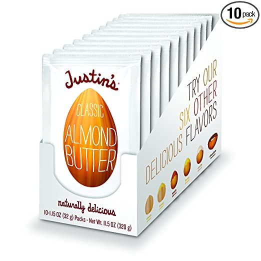 Classic Almond Butter Squeeze Packs by Justin's, Only Two Ingredients, Gluten-free, Non-GMO, Responsibly Sourced, Pack of 10 (1.15oz each)