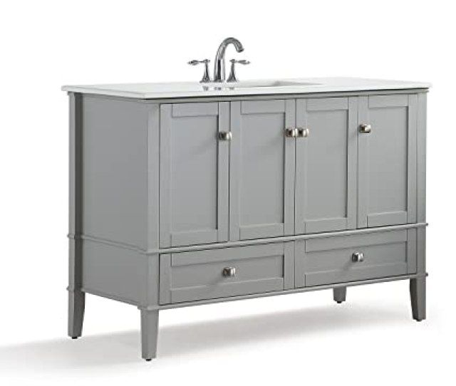 Simpli Home Hhv029gr  Inch Contemporary Bath Vanity In Warm Grey With White Engineered Quartz Marble Top Amazon Com
