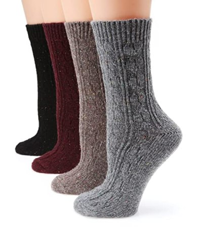 MIRMARU M102-Women's Winter 4 Pairs Wool Blend Crew Socks Collection(Grey,Burgundy,Brown,Black),Medium / Shoe Size:6-9.