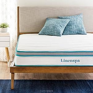 LinenSpa 8 Memory Foam and Innerspring Hybrid Mattress, Twin