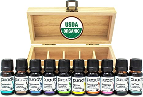 PURA D'OR Perfect 10 Essential Oil Wood Box Set