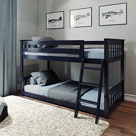Amazon Com Max Lily Solid Wood Twin Low Bunk Bed Blue Furniture Decor