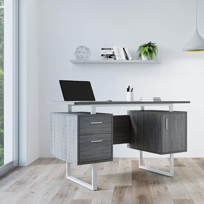 Amazon Com Techni Mobili Modern Office Desk With Storage Gray Furniture Decor