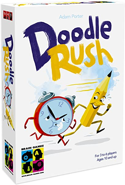 Amazon Com Brain Games Doodle Rush Party Drawing And Guessing Board Game A Fast And Fun Family Board Game Play With Kids Teenagers And Adults Toys Games