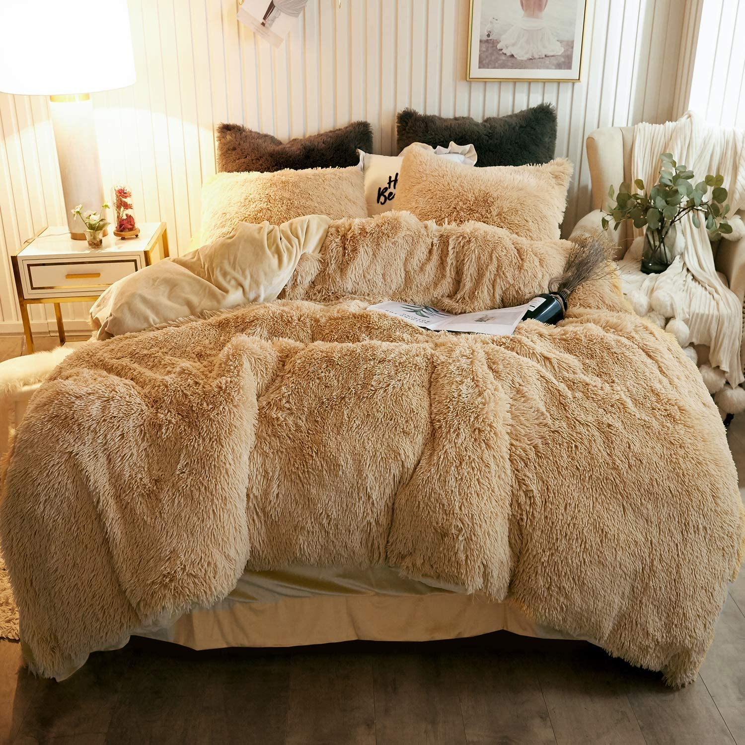Chenfeng Plush Shaggy Duvet Cover Set Luxury Ultra Soft Crystal Velvet Bedding Sets 2 Pieces 1 Faux Fur Duvet Cover 1 Faux Fur Pillowcase Zipper Closure Twin Brown Kitchen Dining Dprd Tasikmalayakab Go Id