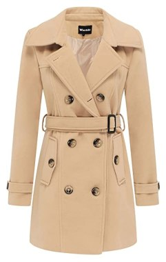 Wantdo Women's Double Breasted Pea Coat with Belt US Small Khaki