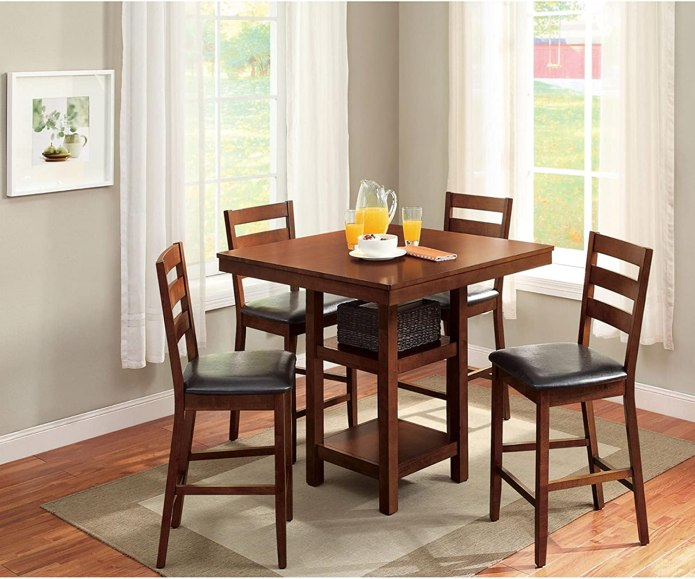 Amazon Com 5 Piece Dalton Park Counter Height Dining Set Mocha Table Chair Sets
