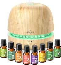 Anjou Essential Oil Diffuser Gift Set 300ML Ultrasonic Aromatherapy Diffuser & Cool Mist Humidifier with Essential Oils, Extra-Quiet, Waterless Shut-Off, Up to 8h Aroma for Home Office