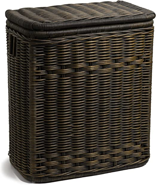 Amazon Com The Basket Lady Narrow Wicker Rectangular Laundry Hamper 21 In L X 13 In W X 24 In H Antique Walnut Brown Home Kitchen