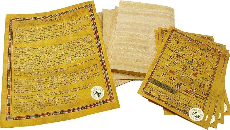 CraftsOfEgypt Set 10 Egyptian Papyrus Paper 4x6 inch (10x15 cm) - Ancient Alphabets Papyrus Sheets